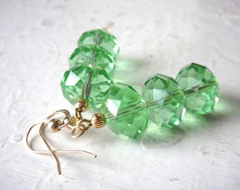 Sparkly Bright Green Crystal Stack on Gold Fill Earrings