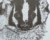 American Badger Notebook Letterpress Printed Cover Original Illustration