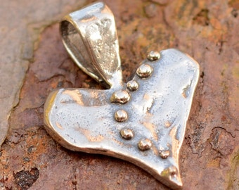 Sterling Silver Dotted Live Love Laugh Heart Pendant