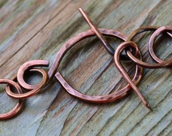 Handmade Figure 8 Copper 12g Clasp - Artisan Forged 39mm Copper Clasp, Infinity Copper Clasp