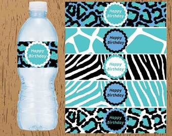 Teal Tuquoise Blue Zebra Leopard Animal Print Party Birthday Digital Printable Water Bottle Labels