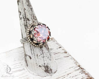 Enchantress Ring // Pink Chiffon Swarovski and Sterling Silver statement ring, by BellaLili, Welded Silversmith
