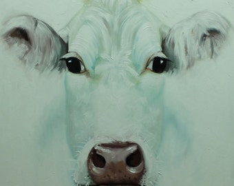 Cow painting 1076 24x24 inch animal original oil painting by Roz
