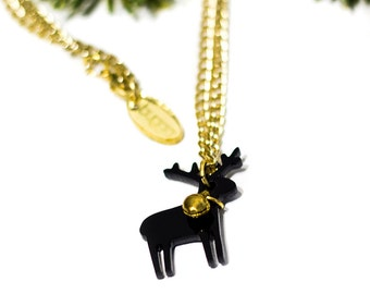 Black Reindeer Mini Necklace,Christmas Jewelry