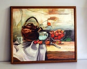 1970s Oil Painting, Strawberries and Teapot, Vintage Still Life Signed Original Art Wood Framed Wall Hanging Kitchen Decor Rustic Artwork
