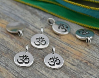 OM Charms, Antique Silver, TierraCast, Om Pendants, Tiny Om Charm Drops, Qty 4 to 20, Yoga Meditaton Wrap Bracelet Charms