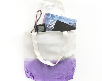 Purple dip dye cotton tote