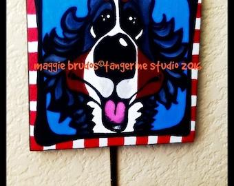 Whimsical dog Wood plaque with metal hanger ART painting dog BMD Bernese Mountain Dog  Original Maggie Brudos Tangerine Studio