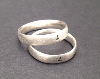 Sterling Silver Anchor/Sailing Motif Wedding Band Set