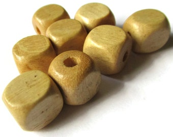 10 12mm Vintage Tan Wooden Cube Beads Vintage Wood Beads New Old Stock Beads Natural Brown Wood Beads Geometric Square Beads