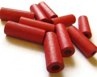 10 25mm Red Wood Tube Beads Vintage Beads Old New Stock Beads Wooden Beads Long Beads
