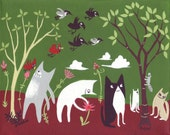 5 Cat Art Painting - Original Cat w/ Crows n Cardinals Folk Art - Whimsical Tuxedo Cat, White Cat in Burgundy & Green Wall Decor