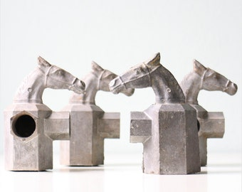 Vintage Metal Horse Post Topper, set of 4