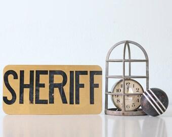 Vintage SHERIFF Sign, Metal Sign, Gold and Black