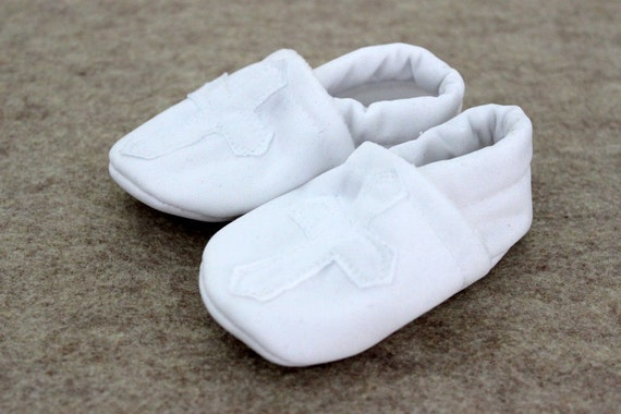 Baby Boy Girl Booties toddler infant newborn slippers shoes Religious Plain WHITE Cross Christening Baptism non slip soft soled SWAG