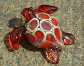 Lampwork Boro Glass Pendant - Focal Bead - Small SEA TURTLE red beige