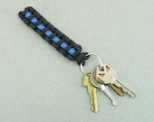 THIN BLUE LINE Paracord Key Ring Fob | Police Dept | Law Enforcement | Officer Detective Policeman | Survival | First Responder Gift leo
