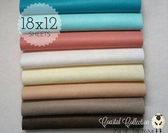 Coastal Felt Collection, Wool Blend Felt, Wool Felt Sheets, Wool Felt Fabric, Felt Fabric Bundles, Wool Felt Bundles, Felt Collections