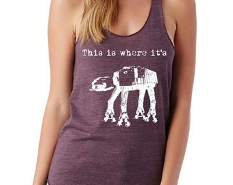 This is where it's At-At Ladies Heathered Tank Top Shirt screenprint Alternative Apparel