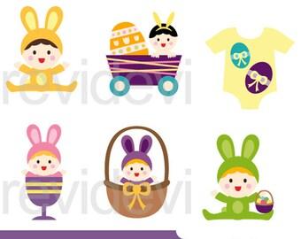 Easter clip art, Easter baby clip art, digital images, Easter clipart babies, instant download
