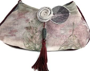 Unique Evening Bag Clutch Purse , Fiber Art Purse , Clutch , Fabric Art , Oriental Flair , Original Design , Flower Leaf Tassel , Woman Gift