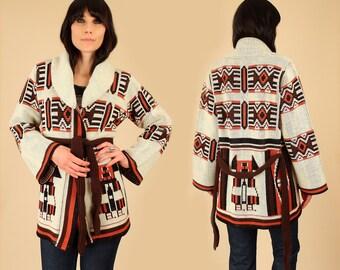 Wrap Sweater ViNtAgE 70's Bell Sleeves Chunky Cardigan Bohemian HiPPiE BoHo Ethnic Tribal Aztec M Geo