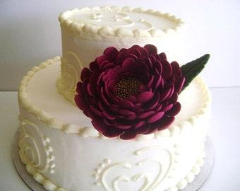 Burgundy Peony Wedding Cake Flower Cake Topper Cake Design Peony Cake Decor handmade Clay Peony Cake Topper Made to Order