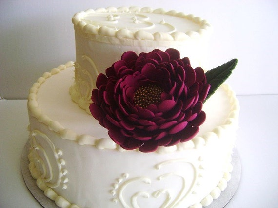 Burgundy Peony Wedding Cake Flower Cake Topper Cake Design