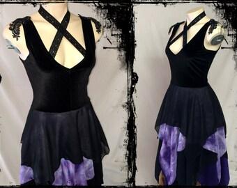 ON SALE! Black and Purple Gypsy Dress, Size Large - Ready to Ship - Gothic Witch Velvet Wedding Ti Dye Chiffon Pixie Hem