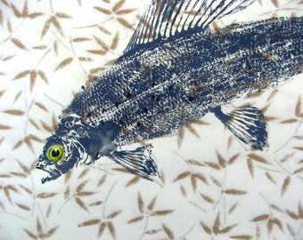 Leaping Arctic Grayling Art Original Best GYOTAKU Fish Rubbing 15X14 Fisherman gift on Leaf paper by Barry Singer