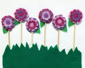 Flower Cupcake Toppers, Cake Toppers, Shy Violet, Set of 6 toppers, Wedding Decoration, Garden Party, Fairy Party