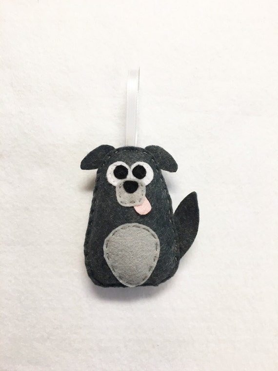 Dog Ornament, Puppy Christmas Ornament, Diesel the Mutt - Made to Order, Felt Ornament, Felt Animal, Holiday Decoration