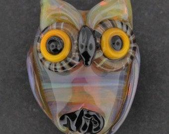 Pastel Transparent Baby Owl, Lampwork Owl Pendant, Owl Bead