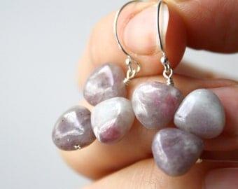 Big Purple Gemstone Earrings . Purple Jasper Earrings . Flower Petal Nature Inspired Jewelry . Natural Stone Earrings - Cayman Collection