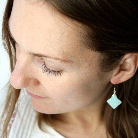 Raw Amazonite Earrings . Geometric Earrings . Blue Gemstone Earrings . Unique Earrings . Slab Earrings Dangle - Antigua Collection