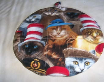 Hot Pad, Hot Pads, Pot Holders, Potholders, Quilted, Round, Cats, Hats, Handmade, 9 Inches, Insulated, Trivet, Gift