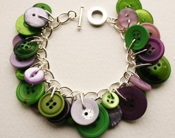 Button Charm Bracelet Muted Purple and Emerald Green