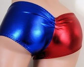 Harley Quinn Suicide Blue Red Scrunch Butt Booty Shorts -Adult All Sizes - MTCoffinz (Choose Boy Shorts or Lo Rise)