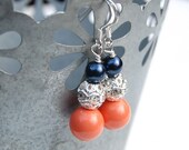 Navy and Coral Pearl Rhinestone Earrings, Bridesmaid Jewelry, Summer Wedding Jewelry, Navy Coral Wedding, Coral Navy Bridesmaid