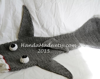 Crochet Shark Blanket- Gray - Lap Blanket- Leg Blanket - Toddler size