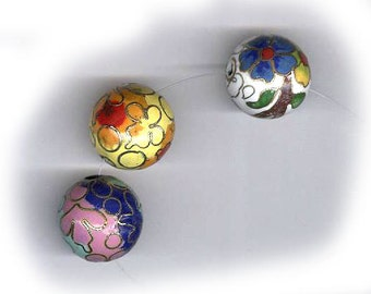 vintage cloisonne beads, assorted colors, round shape, unusual design THREE beads 15mm beads lovely colors