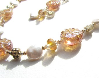 Golden Shimmer Lampwork Glass and Pearl Bead Necklace with Crystals and Silver