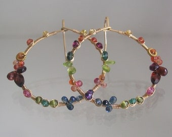 Rainbow Gemstone Hoops, Gold Filled Earrings, Front Facing, Wire Wrapped Jewelry, Artisan Made, Sapphire, Garnet, Original Design, Signature