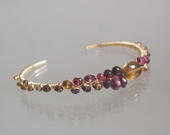 Garnet Cuff, 14k Gold Filled Stackable Cuff, Tourmaline Wire Wrapped Bracelet with Beer Quartz, Amber Tourmaline, Modern Design