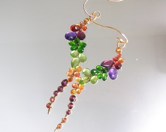Rainbow Gemstone Vine Earrings, Curvy Gold Filled Dangles, Artisan Made, Amethyst, Sapphire, Peridot, Original Design, Made to Order