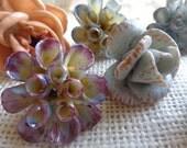 Vintage French Porcelain Flowers, Chandelier Embellishments, Set of 9
