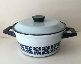 Cathrine Holm Blue and White Double Handled Casserole with Matching Lid Made in Norway MCM