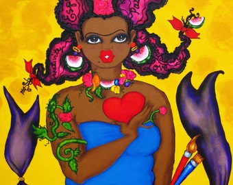 Prints:5x7  Frida Was a Beauty Queen! Affirmation Natural Hair by karin turner KarinsArt  watermelon  african american