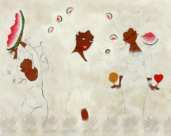 Prints:5x7White Series Trio! Affirmation Natural Hair by karin turner KarinsArt  watermelon african american spirit