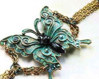 Bronze Patina Butterfly Crystal Bracelet